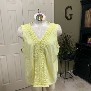 Talbots Yellow Cotton Sleeveless Tank Size XLP